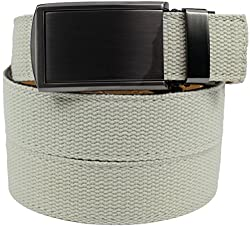 SlideBelts Men's Canvas Belt without Holes - Gunmetal Buckle / Ivory Canvas (Trim-to-fit: Up to 48