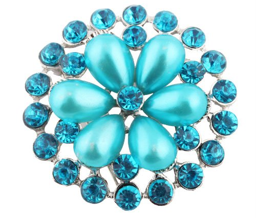 Ladies Silver with Metallic Light Blue Iced Out Sun Wheel Pearl Flower Style Collar Brooch & Pin