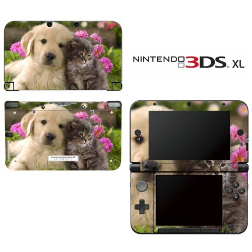 Puppy Kitty Friends Decorative Video Game Decal Cover Skin Protector For Nintendo 3Ds Xl
