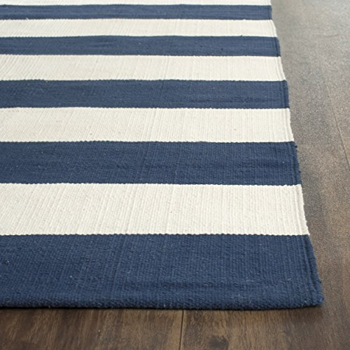 Safavieh Montauk Collection MTK712H Hand Woven Navy and Ivory Cotton Runner, 2 feet 3 inches by 9 feet (2'3
