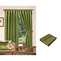 Lime Green Luxury Faux Silk Curtains Fully Lined with Tiebacks