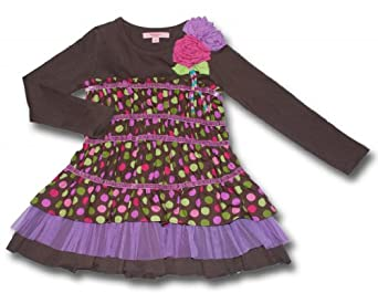 Gorgeous Chocolate Long Sleeve Gathered Polka Dot Beetlejuice London Knit Toddler/Girls Dress With Tulle Hem Detail-Sizes Available From 2T-8-8