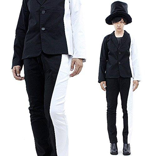 (アンコロック)ankoROCK スーツ メンズ レディース テーラードジャケット スキニーパンツ 上下 セットアップ バイカラー 黒 ブラック 白 ホワイト