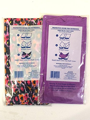 Set of 2 Book Covers: Jumbo Size - Pink Leopard Print / Purple Set chicken licken level 2