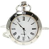 [モノジー] MONOZY シンプル レトロ ネックレス 時計 【収納袋、化粧箱】 アンティーク 懐中時計 ダブル インデックス ネックレス時計
