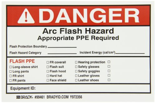 "Brady 99461 4"" Height, 6"" Width, B-933 Vinyl, Black And Red On White Color Write-On Arc Flash Labels (Danger) (Pack Of 5)"