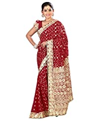 Designer Astounding Maroon Colored Embroidered Faux Georgette Saree By Triveni