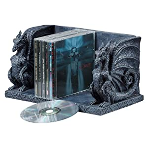 6 medieval gothic dragon sculpture decorative cd holder storage bookend - Dragon bookend ...