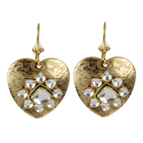 Exclusive Gold Plated Kundan Heart Shaped Earrings