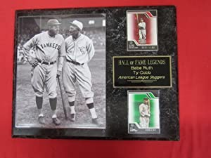Babe Ruth Ty Cobb Hall of Fame 2 Card Collector Plaque w 8x10 RARE Photo by J & C Baseball Clubhouse