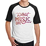 メンズ 音楽 音楽は命だ 大好き Tシャツ トップス コットン 簡単 Large Black