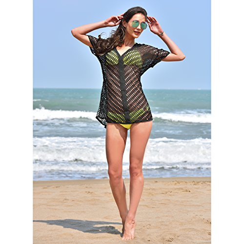 94a1201016bed MG Collection® Openwork Black Cotton Lace V-Neck Beach Swimsuit Cover Up