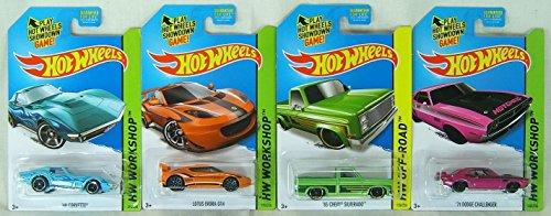 2014 Hot Wheels Kmart Exclusive Set Of 4 - '69 Corvette (Light Blue), Lotus Evora Gt4 (Orange), '83 Chevy Silverado (Green), '71 Dodge Challenger (Pink)