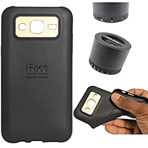 DMG iFace Scratch-Resistant Slim Silicone Shock Proof TPU Back Cover Case for Samsung Galaxy J5 J500 (Black) + Wireless Bluetooth Speaker with Mic and microSD Support
