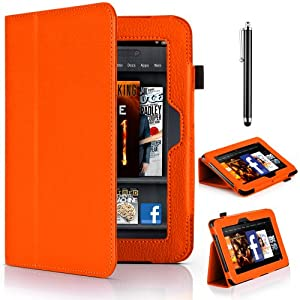"""Mobile-Heaven Multi Function Executive ORANGE Premium PU Leather Smart Stand Flip Pouch Case Cover For Amazon Kindle Fire HD 7"""" Tablet 16GB or 32GB (Previous Generation) With Sleep Wake Function And Free Stylus & Screen Protector"""