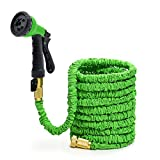 Green 150FT Stronger Double Latex Inner Tube Prevent Leaking Strongest Expandable Solid Brass (With Valve) Garden Hose with Extra Strength Fabric and Professional Spray Gun Tap to Pressure Washer