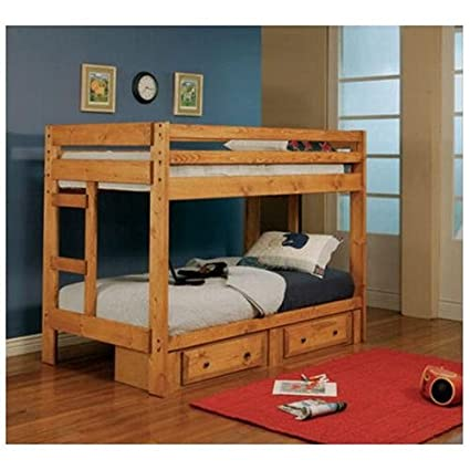 Coaster Wrangle Hill Twin Over Twin Bunk Bed in Amber Wash