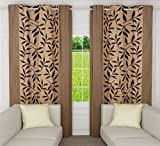 "Home Candy Leaves 2 Piece Polyester Window Curtain Set - 60""x48"",Beige"