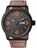 "Citizen Mens BM8475-26E ""Eco-Drive"" Stainless Steel and Synthetic Leather Strap Watch"