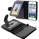 OFTEN iphone 5 5S 専用手帳型、財布型ケース 耐衝撃、防塵フル  シンプルなタイプポケット、カード機能付きレザーケースカバー 黒