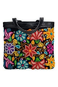 Tey-Art Flores Hand Embroidered Fair Trade Shoulder Bag (Black)