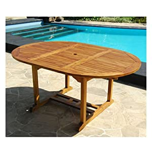 Table de jardin ovale teck huil 6 8 personnes larg 120 cm for Table ronde rallonge 8 a 10 personnes