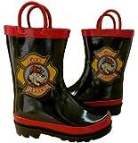 Boy's Black Fire Dog Rain Boots (Toddler/Little Kid)