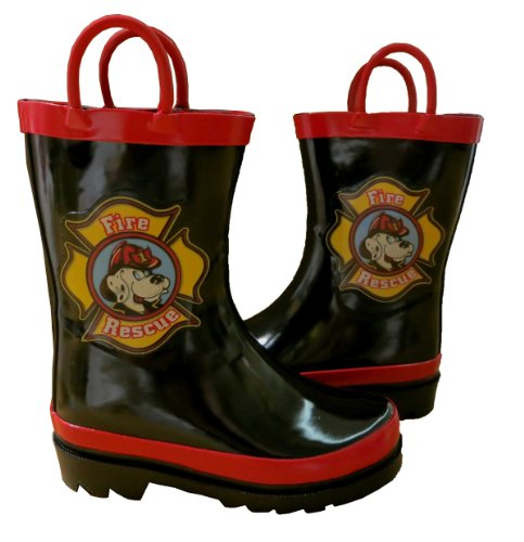 Toddler Fireman Rain Coats Boots and Umbrellas