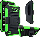 AT&T Tribute / Fusion 3 Case, E-Time (TM) AT&T Tribute / Fusion 3 (HUAWEI Y536A1) GoPhone Armor Series - Heavy Duty Dual Layer Holster Case Kick Stand with Locking Belt Swivel Clip (Free E-Time Brand LCD Screen Protector + Stylus Pen Included) (BLACK/GREEN)