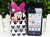 eFuture(TM) Black Cute Disney Minnie Mouse Series Design Flexible TPU Case Cover Skin Fit For Apple iPhone4 4S +eFuture's nice Keyring