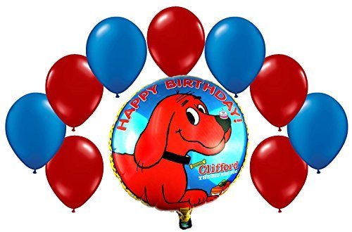 Clifford, The Big Red Dog Birthday Mylar and Latex Balloons Bouquet (10 Pcs) (Clifford Party Supplies compare prices)