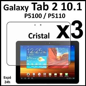 ebestStar - Pour Tablette Samsung Galaxy TAB 2 10.1 P5100 / P5110 - LOT DE 3 FILM PROTECTEUR ANTI-RAYURE / protection d'écran tactile, LCD, cristal, transparent + chiffonnette (microfibre / chiffon)