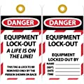 """NMC LOTAG18-25 """"DANGER - EQUIPMENT LOCK-OUT A LIFE IS ON THE LINE"""" Lockout Tag, Unrippable Vinyl, 3"""" Length, 6"""" Height, Black/Red on White (Pack of 25)"""