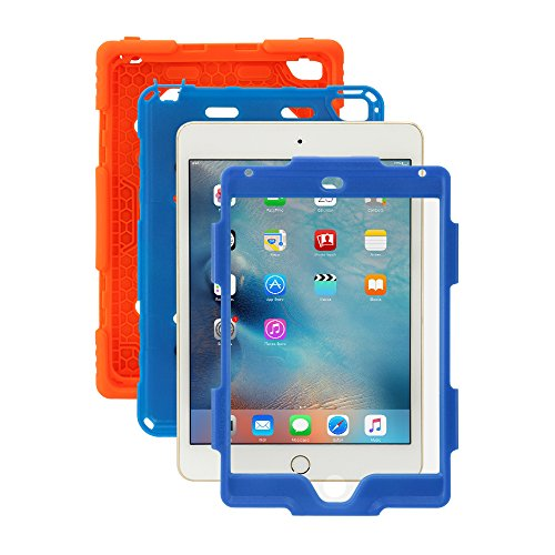 iPad Mini 4 Case, for Kids Aceguarder® [Shockproof] *Military Grade* Heavy Duty Rainproof Silicone Cover with Kickstand & Screen Protector for Apple iPad Mini 4 2015 (4th Generation)-Orange/Blue (Ad Mini Case compare prices)