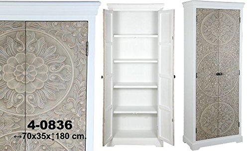 DonRegaloWeb - Armario con 2 puertas de madera repujada con mandalas en color blanco y marrón