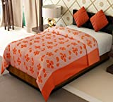 Home Candy Flowers Cotton Single Bed Duvet Cover with Zipper - Orange