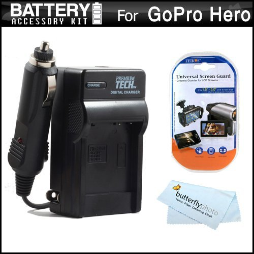 Battery Charger Kit For Gopro Hd Hero3, Gopro Hero3+ And Gopro Ahdbt-201, Ahdbt-301 Includes Ac/Dc 110/220 Rapid Travel Charger For Gopro Ahdbt-201, Ahdbt-301 Battery + Lcd Screen Protectors + Microfiber Cloth