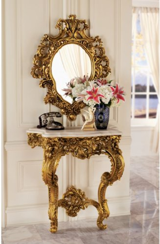 Cheap 35″ French Rococo Antique Replica Wall Console Table and Salon Mirror (KY924)