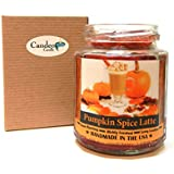 Pumpkin Spice Latte Wood Wick Candle, 8 oz Super Scented Natural Wax Candle