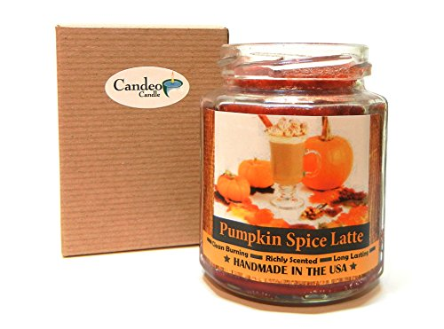 Candeo Candle Pumpkin Spice Latte Wood Wick Scented Natural Wax Candle, 8 oz