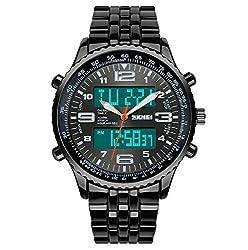 SKMEI Analog + Digital Multifunction Steel Watch- Black Dial