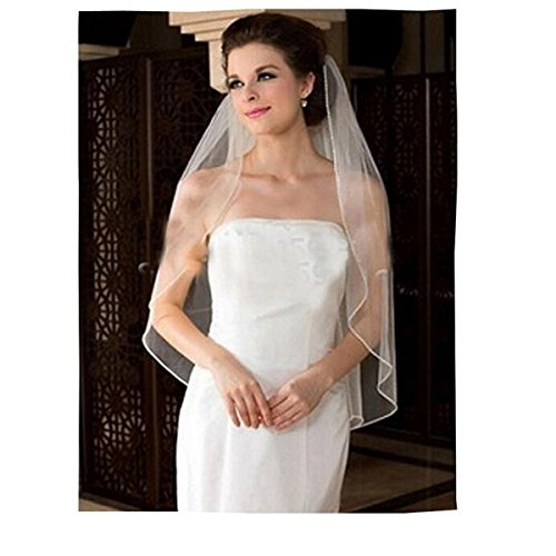 Fair Lady Cheap White Bridal Veils 1 Layer Ribbon Edge Wedding Veil with Comb
