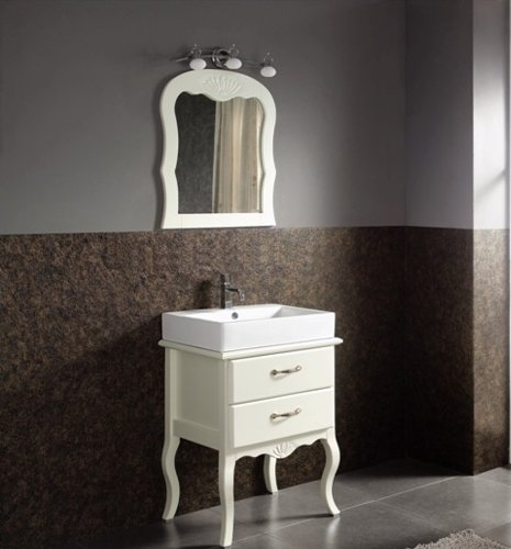 Bathroom Shabby Chic Vintage White Vanity Unit, Ceramic Basin, Mirror