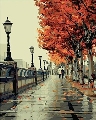 Diy oil painting, paint by number kit- Romantic love autumn 16*20 inch.