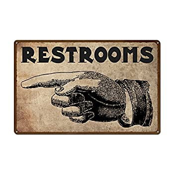 Vintage Left Pointing Hand Restroom Sign