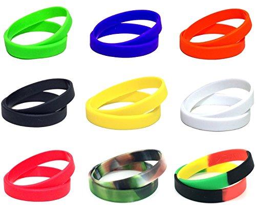 [ケンコバハンズ] 選べる10色! 多目的 シリコン バンド 2本セット カメラ レンズ バンド や スポーツ リスト バンド に オススメ。 シリコーン ゴム 製 腕 輪 (青)