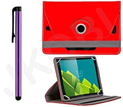 Value Combo Of Tablet Book Flip Case Cover And Stylus Touch Screen Pen For iBall Slide 3G Q7218 (Universal) -Red