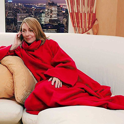 Snuggle Fleece Blanket Cozy Wrap Warm Throw Travel Plush Fabric With Sleeves As Seen On TV- Red
