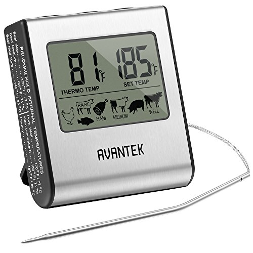 AVANTEK Digital Instant Read Kitchen Food Cooking Meat Thermometer with Timer and Stainless Steel Probe for BBQ Oven Gril Smoker (Remote Smoker Thermometer Iphone compare prices)