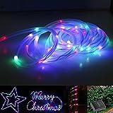 KAPATA LEDストリングライト 防水 10m100球 点灯2パターン RGB ソーラー 庭園 ガーデンライト 装飾/クリスマス NoBrand ノーブランド